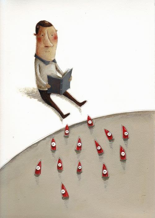 """Telling the story of """"Little Mermaid"""" / Contando el cuento de la """"Sirenita"""" (ilustración de João Vaz de Carvalho)"""