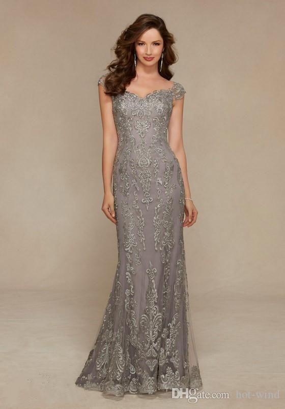 Cheap 2016 Grey Vintage Long Mother Of The Bride Dresses Lace Beading Mermaid Jewel Sleeveless Wedding Party Gowns Luxury Evening As Low