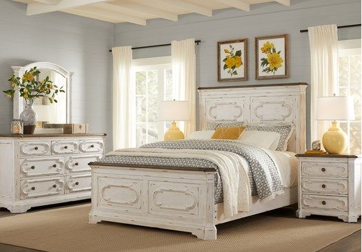 Pc Queen Panel Bedroom, Lake Town Off White 3 Piece Queen Panel Bed With Storage