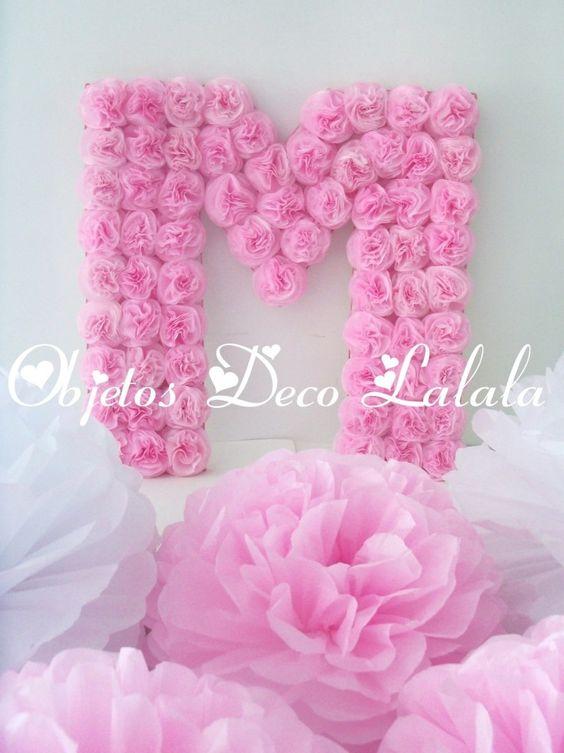 Letras y numeros flores cumple bautismo 15 a os for Paredes moradas decoradas