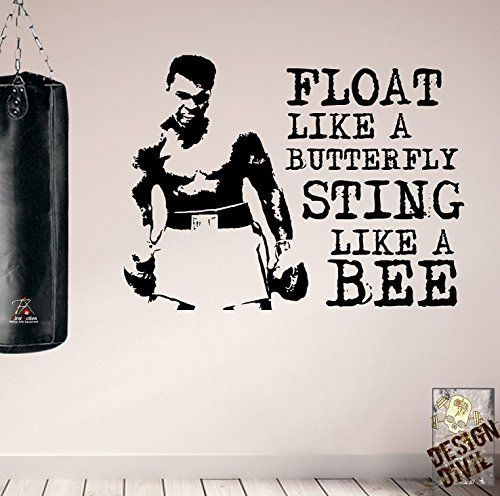 FLOAT LIKE A BUTTERFLY wall sticker quote Muhammad Ali Boxing Decals