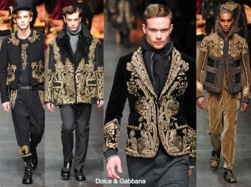 Dolce & Gabbana Fall 12 inspired 17th Century Baroque period. Suits with inspired Baroque inspired detailing and patterns.