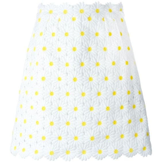 Dolce & Gabbana daisy embroidered skirt (£900) ❤ liked on Polyvore featuring skirts, white, short a line skirt, embroidered skirt, white a line skirt, daisy skirt and high rise skirts