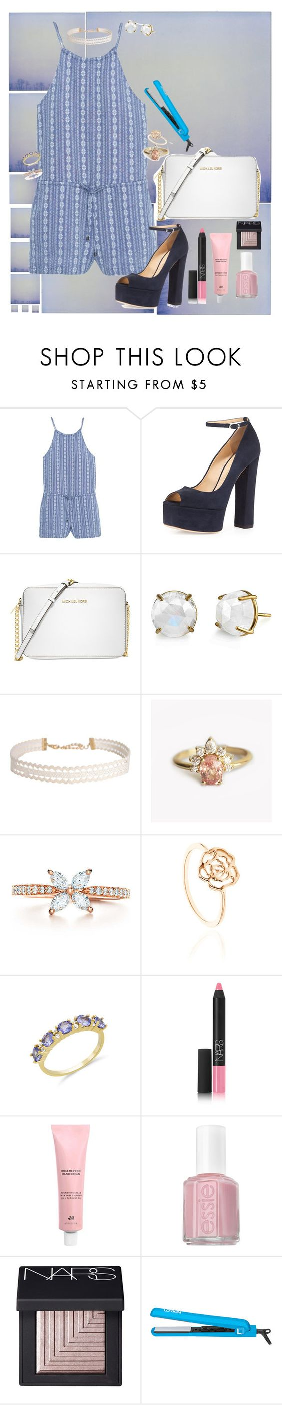 """""""You Make Me Feel Better"""" by kittypom ❤ liked on Polyvore featuring MANGO, Giuseppe Zanotti, Michael Kors, Irene Neuwirth, Humble Chic, Tiffany & Co., Ambre & Louise, NARS Cosmetics, Essie and Lorion"""