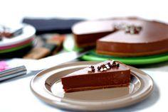 Tarta de cuajada con chocolaate negro.