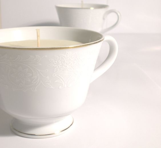 Rosewood Vanilla Fine China teacup candle - soy wax and pure essential oil, as seen in Etsy Finds. $17.50, via Etsy.