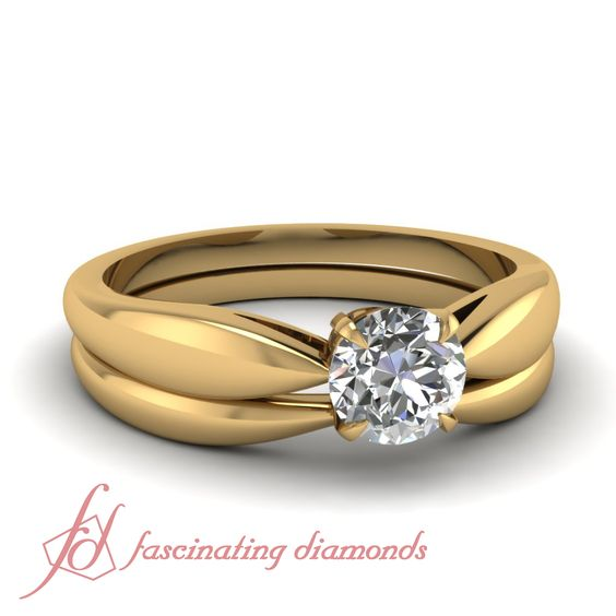 Round Cut Diamond 14K Rose Gold Solitaire Engagement Ring in Prong Setting || Dwindled Bow Set