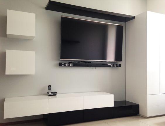 Mueble para sala de tv en blanco y negro al alto brillo - Mueble blanco pared ...