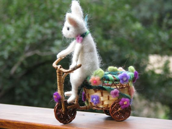 Needle felted white bunny riding bike spring home by Made4uByMagic