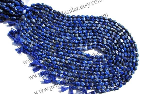 Lapis Lazuli Smooth Cut Brick (Quality B) (6Strands) / 4.5x7 to 5.5x8.5 mm / 17 to 19 Grms / 36 cm / LA-073 by GemstoneWholesaler on Etsy