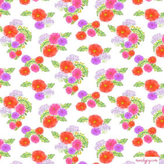 watercolour floral repeat by mandy joy www.mandyjoy.com