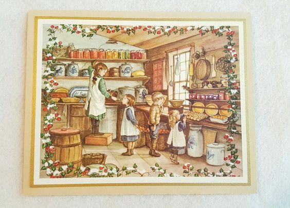 Tasha Tudor General Store Stoneware Christmas Greeting Card Irene Dash GT 70-93K