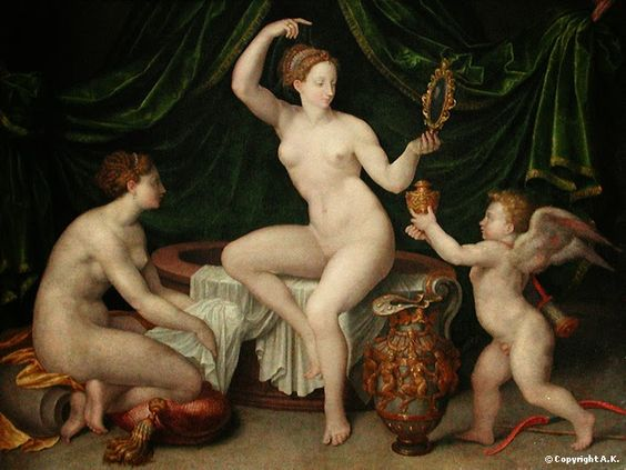 Madame Isis' Toilette: 16th century Venus at her toilet, School of Fonteinbleau, ca. 1550