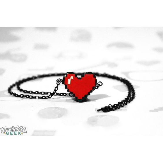 Pixel Heart Necklace Couples Necklace Best Friend Geeky Gamer ❤ liked on Polyvore featuring jewelry, necklaces, heart jewellery, heart-shaped jewelry, heart necklace, heart shaped necklace and heart jewelry