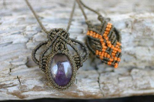 Handmade Macrame Pendant with Amethyst / Metal Free