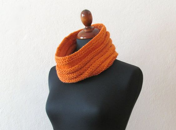 Tangerine chunky Cowl / Ribbed style / bright by theYarnKitchen, $40.00