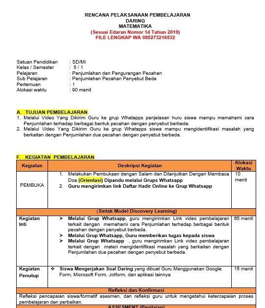 Rpp Matematika Kelas 5 Daring Semester Ganjil Matematika Kelas 5 Matematika Pelajaran Matematika