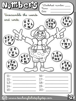 Numbers - Worksheet 4 (B&W version)   ingles   Pinterest ...