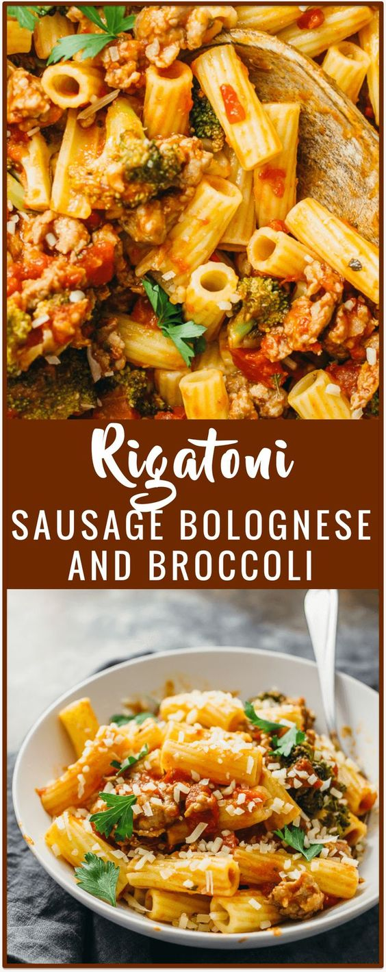 Rigatoni with sausage bolognese and broccoli - Use sausage for your next…