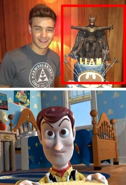 LOOOL. poor woody. i seriously thought liam would have a toy story cake...