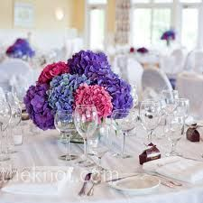 Blue, purple and pink Hydrangea centerpiece