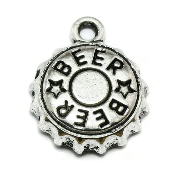 6 Beer Cap Charms Silver Tone Metal S442 by OliviaMadisonCompany (Craft Supplies & Tools, Jewelry & Beading Supplies, Charms, craft supplies, charm, silver charms, metal charms, tibetan silver, charm bracelet, olivia madison, beer charm, beer bottle charm, alcohol charm, drink charm, party charm, beer cap charm)