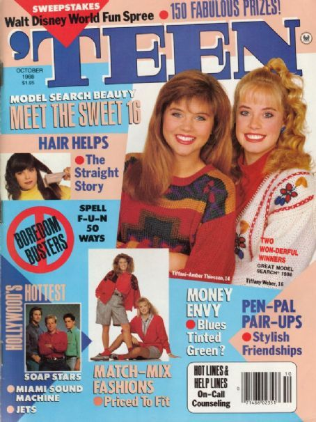 'TEEN magazine: I worked there from 1987-1989. Was in the promotions dept. when these two Tiffany's won the model search. Went to Disney with 'em for the photo shoot. heehee. :-)