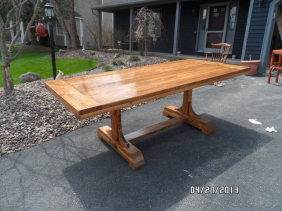 Trestle pedestal table kreg jig owners community wood for Pedestal trestle dining table plans