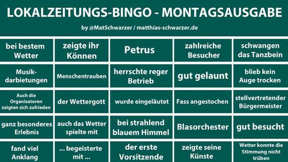 Jetzt erst entdeckt, das großartige Lokalzeitungs-Bingo, Edition Montagsausgabe, von @MatSchwarzer: