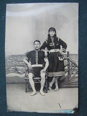 Large Tintype of Couple in Bathing Swimming Costumes with SS Mervine Belts | eBay