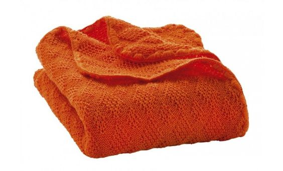 Wollen deken, oranje - Dekens - Bad- en beddengoed