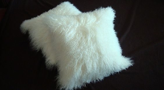 "Tibetan/Mongolinan  lamb Fur Pillow Cover Natural White 21""x21"". $94.00, via Etsy."