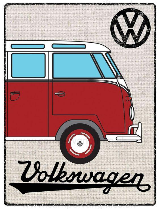 Campervan Gift - VW Red Campervan Hessian Metal Sign, (http://www.campervangift.co.uk/vw-red-campervan-hessian-metal-sign/)