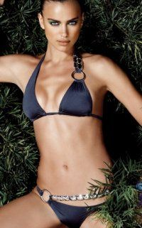 I'm speechless. I need to find this pronto.    Strikingly beautiful Midnight Blue Brazilian Bikini Swimsuit with sliding triangle top that offers single gold belt like chain strap detail with large O-ring on left side and ties for comfort and fit.
