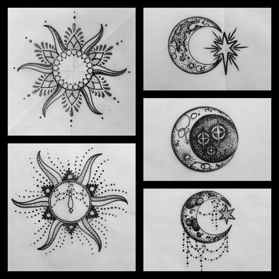 Sun and moon henna designs