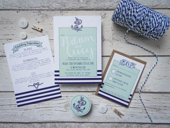Nautische Doodle Hochzeitseinladung Bundle Meer von PaperFudge