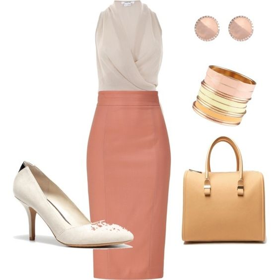 Love love love this pink high waisted skirt and just adore this look in general