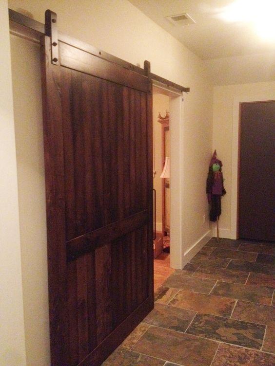Industrial barn door hardware with an alder wood barn door for Extra wide exterior doors