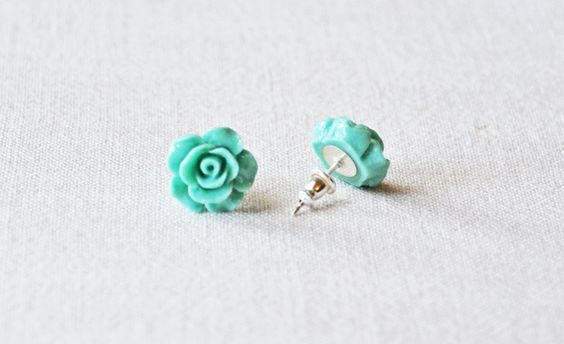 Teal Rose Floral Studs - Sterling Silver. $15.00, via Etsy. Made in Rockwall, TX