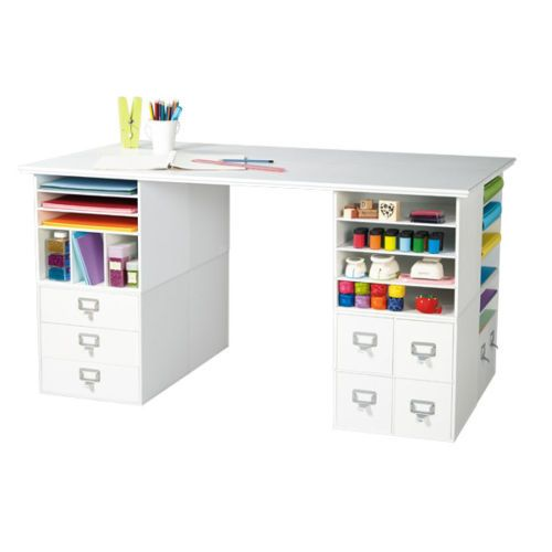 Crafts craft storage and cubes on pinterest for Crafting desk with storage