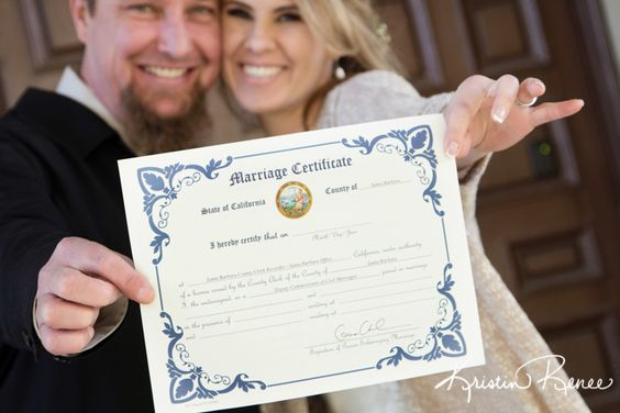 santa barbara courthouse wedding, photo by kristin renee, photo with marriage certificate http://santabarbaracourthouseweddings.net: