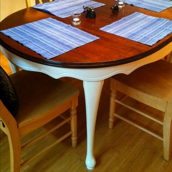 Upcycle dining table dark walnut top antique white for Upcycled dining table