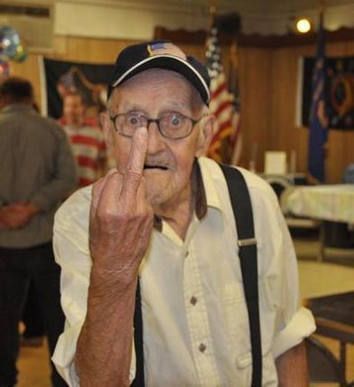 Image result for image of old man giving the finger