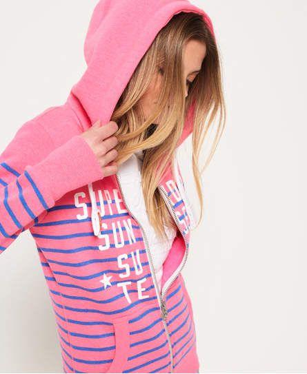 Miami Surf Stripe Zip Hoodie Chest Cracked Logo Striped Hoodie Hoodies Hoodies For Sale