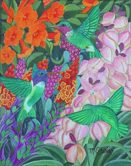 """""""Hummers"""" painting by Marcela Lubian"""