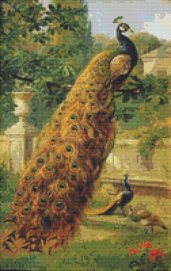 Peacocks In The Park Cross Stitch Pattern by Avalon Cross Stitch on Etsy.