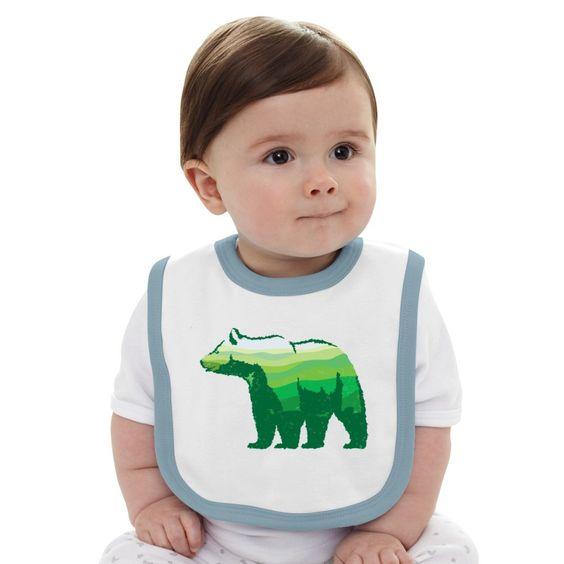 Green Bear Baby Bib