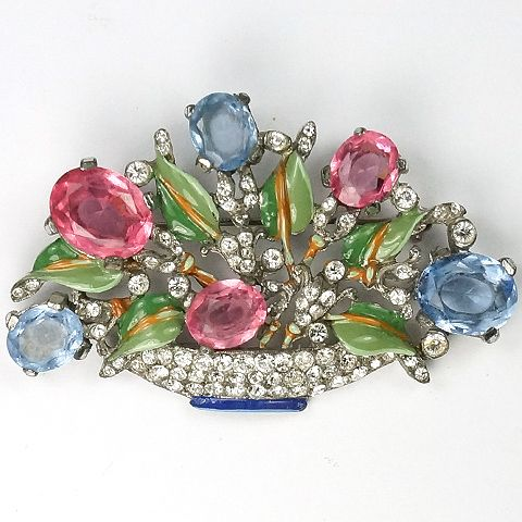Trifari 'Alfred Philippe' Pink and Blue Topaz Medium Pastel Flower Basket Pin, 1938-1942