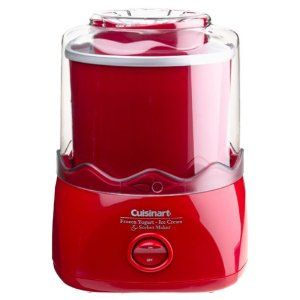 Cute little ice cream maker that matches my red kitchen!  Salt and ice are not needed.