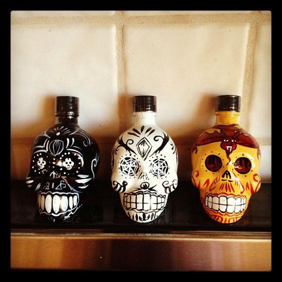 Skull tequila bottles